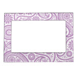 Purple White Floral Paisley Pattern Magnetic Frames