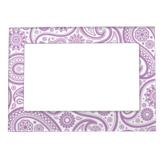 Purple White Floral Paisley Pattern Picture Frame Magnet