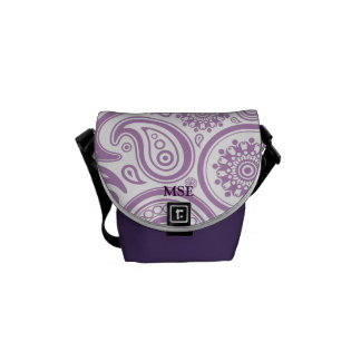 Purple White Floral Paisley Pattern Messenger Bags