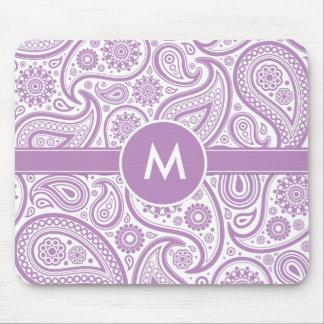 Purple White Floral Paisley Pattern Mouse Pad