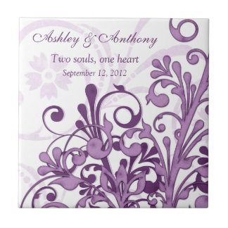 Purple White Floral Personalized Wedding Tile