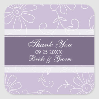Purple White Floral Thank You Wedding Favor Tags