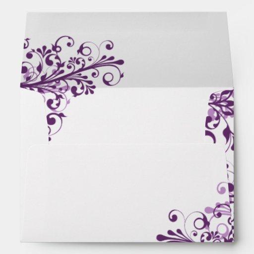 purple white floral wedding a7 envelopes zazzle
