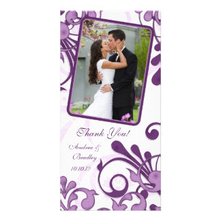 Purple White Floral Wedding Thank You Photo Card