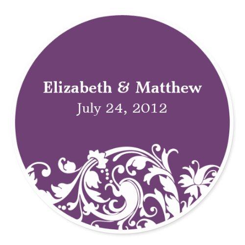 Purple White Flourish Swirl Wedding Favor Label sticker