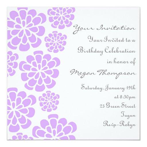 Purple & White Flower Birthday Invitation