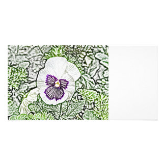 purple white flower drawing green plant design card