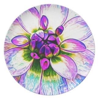 Purple White Flower Floral Petals Blossom Macro Melamine Plate