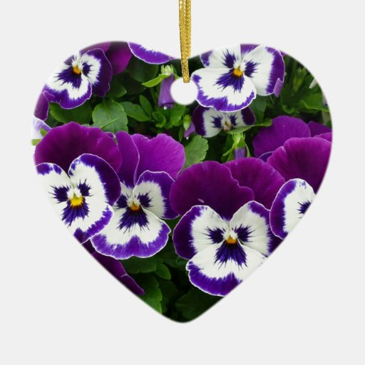 Purple and White Fancy African Violets Christmas Tree Ornaments