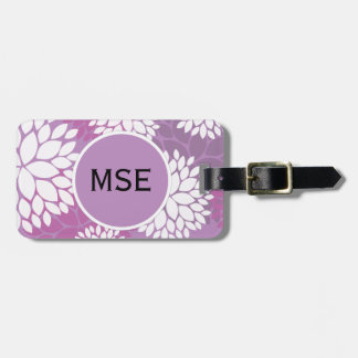 Purple White Flowers Luggage Tag