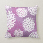 Purple White Flowers Throw Pillow