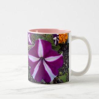 Purple & White Flowers Two-Tone Coffee Mug