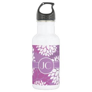 Purple White Flowers Water Bottle