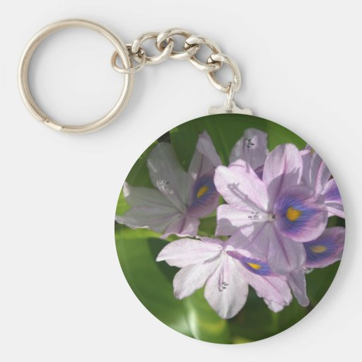 purple white flowers with eyes basic round button keychain