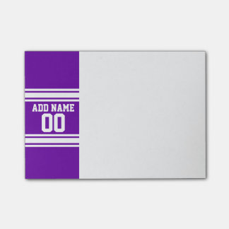 Purple White Football Jersey Custom Name Number Post-it Notes