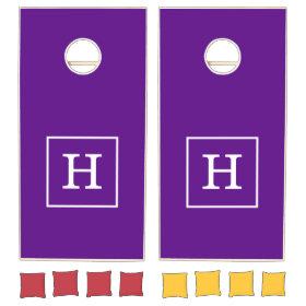 Purple White Framed Initial Monogram Cornhole Sets