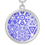 Purple White Geometric Design 4Patty Silver Plated Necklace