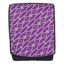 Purple White Geometric Pattern Backpack