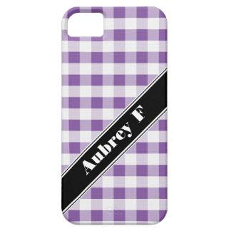 Purple & White Gingham custom iPhone 5 Case