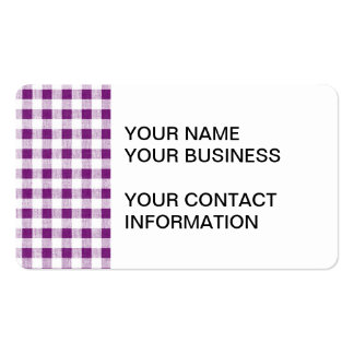 Purple White Gingham Pattern Business Card Template