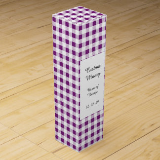 Purple White Gingham Pattern Wine Gift Boxes