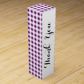 Purple White Gingham Pattern Wine Box