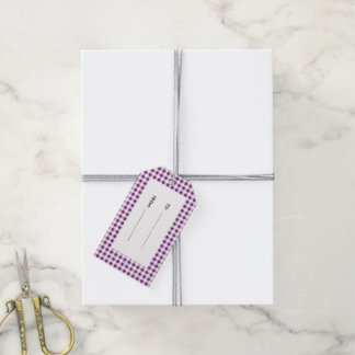Purple White Gingham Pattern Pack Of Gift Tags