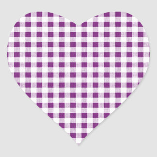 Purple White Gingham Pattern Heart Sticker