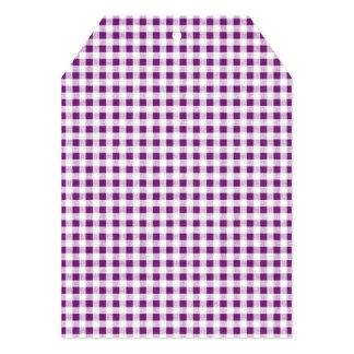 "Purple White Gingham Pattern 5"" X 7"" Invitation Card"