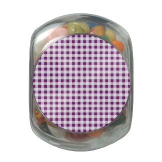 Purple White Gingham Pattern Jelly Belly Candy Jar