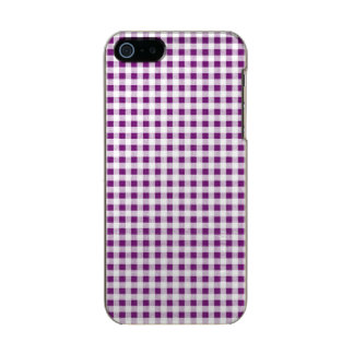Purple White Gingham Pattern Metallic iPhone SE/5/5s Case