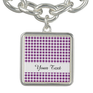 Purple White Gingham Pattern Bracelet