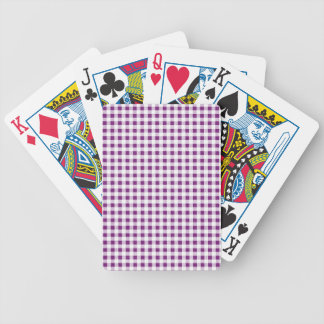 Purple White Gingham Pattern Bicycle Playing Cards