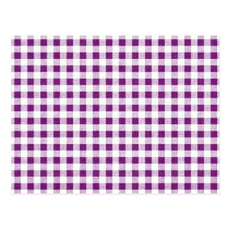 Purple White Gingham Pattern Postcard