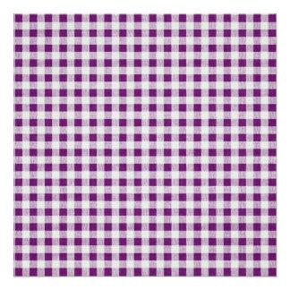 Purple White Gingham Pattern Poster