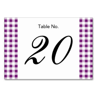 Purple White Gingham Pattern Table Cards