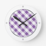 Purple & White Gingham Pattern Wall Clock