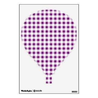 Purple White Gingham Pattern Wall Sticker