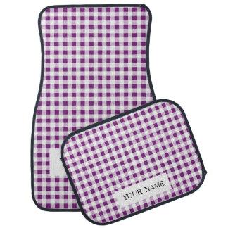 Purple White Gingham Pattern Floor Mat