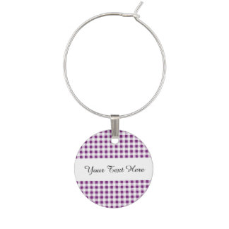 Purple White Gingham Pattern Wine Charms