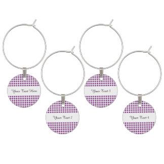 Purple White Gingham Pattern Wine Glass Charm