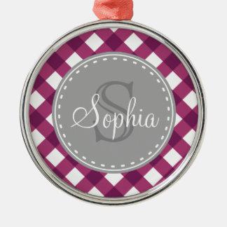 Purple White Gingham Plaid Pattern Monogram Metal Ornament