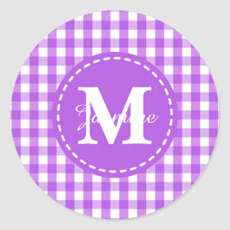 Purple White Gingham Square Pattern Monogram Classic Round Sticker