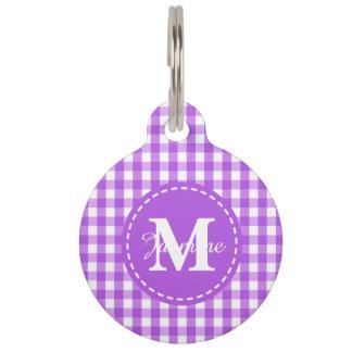 Purple White Gingham Square Pattern Monogram Pet Tag