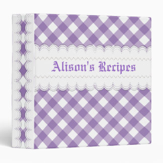 Purple white gingham with scalloped borders recipe 3 ring binder
