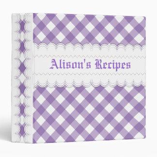Purple white gingham with scalloped borders recipe vinyl binders