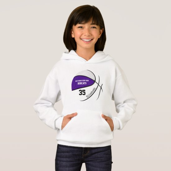 purple white girls' basketball team colors hoodie