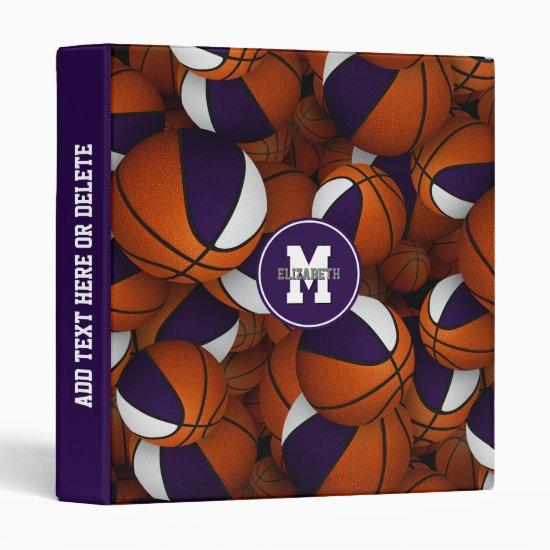 purple white girls boys school colors basketball 3 ring binder