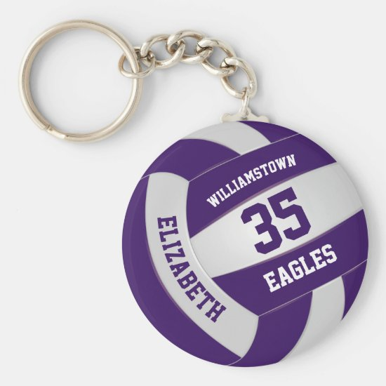 purple white girls boys team colors volleyball keychain