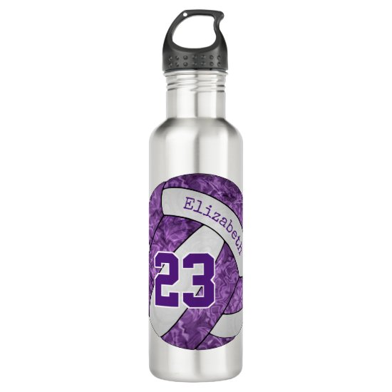 Purple white girls' volleyball team colors stainless steel water bottle